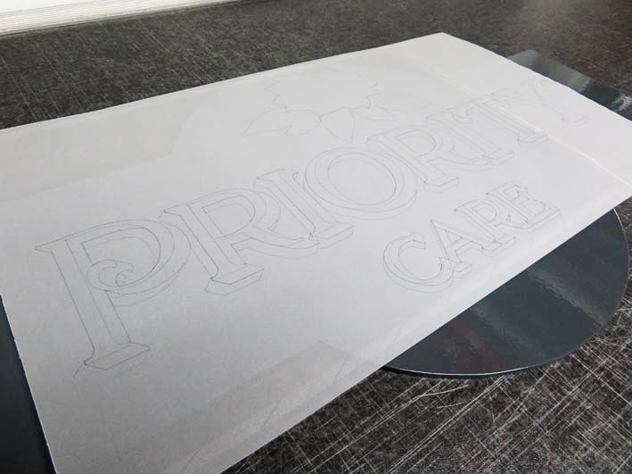 Tracing paper lettering pattern